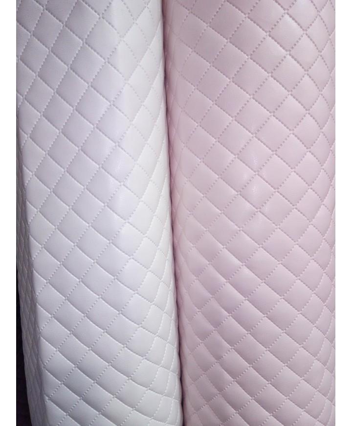 Polipiel acolchada, guateada y forrada en 1,40 de ancho blanca