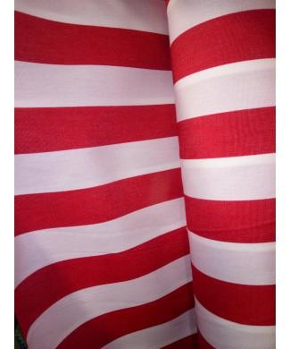 Lona 100% acrílica raya roja y blanca 3.20 de ancho