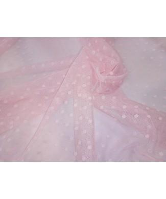 Tul plumeti 1.40 de ancho topo mediano rosa