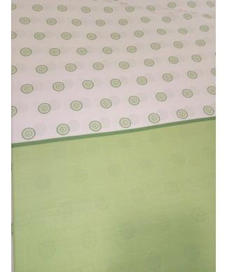 Sabana estampada 50% poliester 50% algodón circulos verdes 2.80 de largo