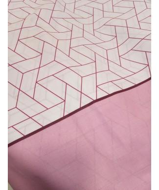 Sabana estampada 50% poliester 50% algodón geométrica rosa 2.80 de largo