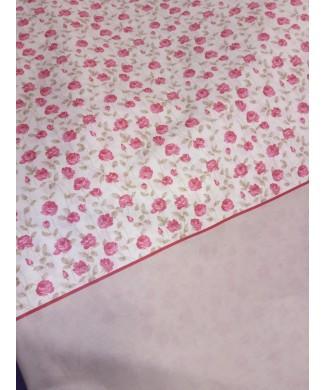 Sabana estampada 50% poliester 50% algodón flor liberty rosa y tierra2.80 de largo