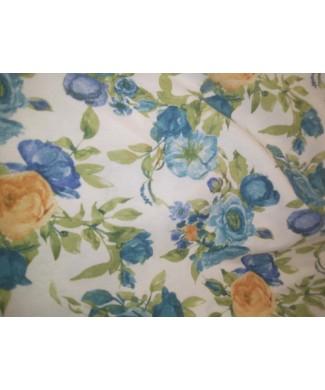 Loneta 50% algodon 50% poliester flores azules y amarillas 2.80 ancho