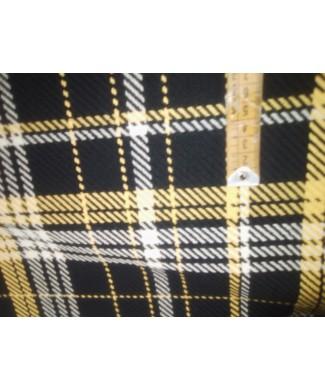 Paño fino en cuadro negro, blanco y amarillo en 1,50 de ancho 50% poliester 50% algodón