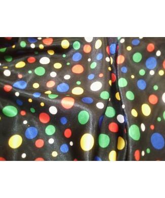 Raso fondo negro lunares rojos, amarillos, verdes y azulon 1.50 de ancho 100% poliester