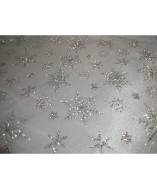 Organza frozen blanca copos de nieve glitter plata 1.50 de ancho
