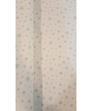Pique canutillo estrella de mar marino fondo blanco 50% poliester 50% algodón 1.50 de ancho