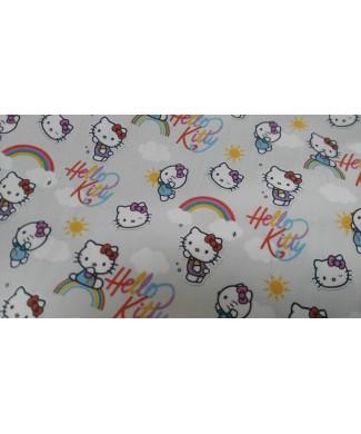 Algodon 100% Hello kitty arcoiris 1.50 de ancho