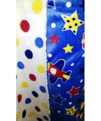 Coralina reversible lunares colores y estampado fondo azul y aviones 1.60m/ancho