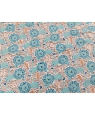 Punto algodon Leones azules 1,50m ancho