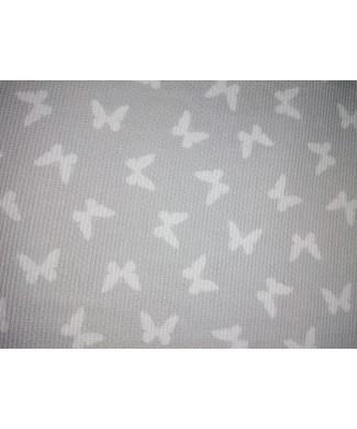 Pique 100% algodón mariposa Blanca fondo gris 1,50m ancho