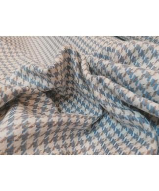 Pata de gallo azul y gris 50% acrilico 20% algodon 15% poliester 15% lana 1.50 de ancho
