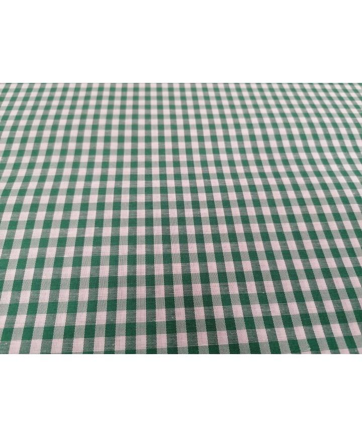 Vichy verde poliester 1,60m ancho cuadro 0,5 cm