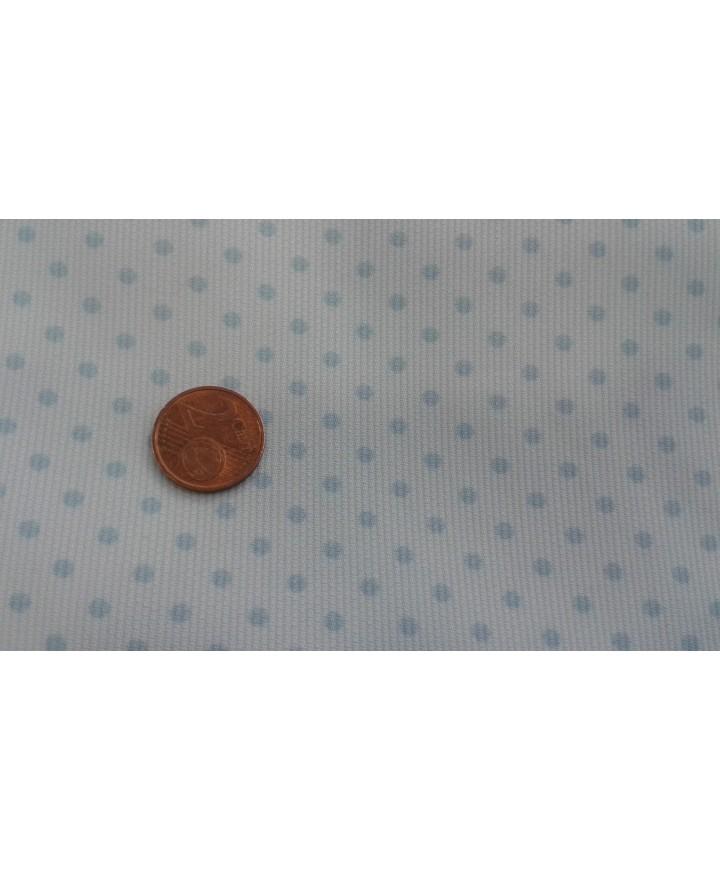 Pique fondo blanco lunar azul pequeño 1.50 ancho